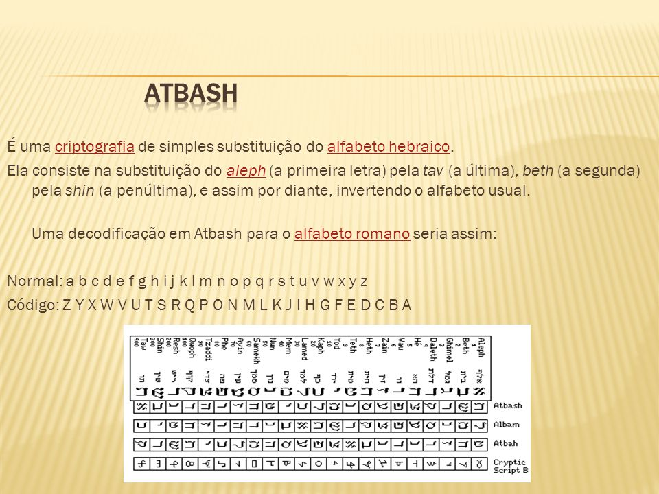 É uma criptografia de simples substituição do alfabeto hebraico.criptografiaalfabeto hebraico Ela consiste na substituição do aleph (a primeira letra)