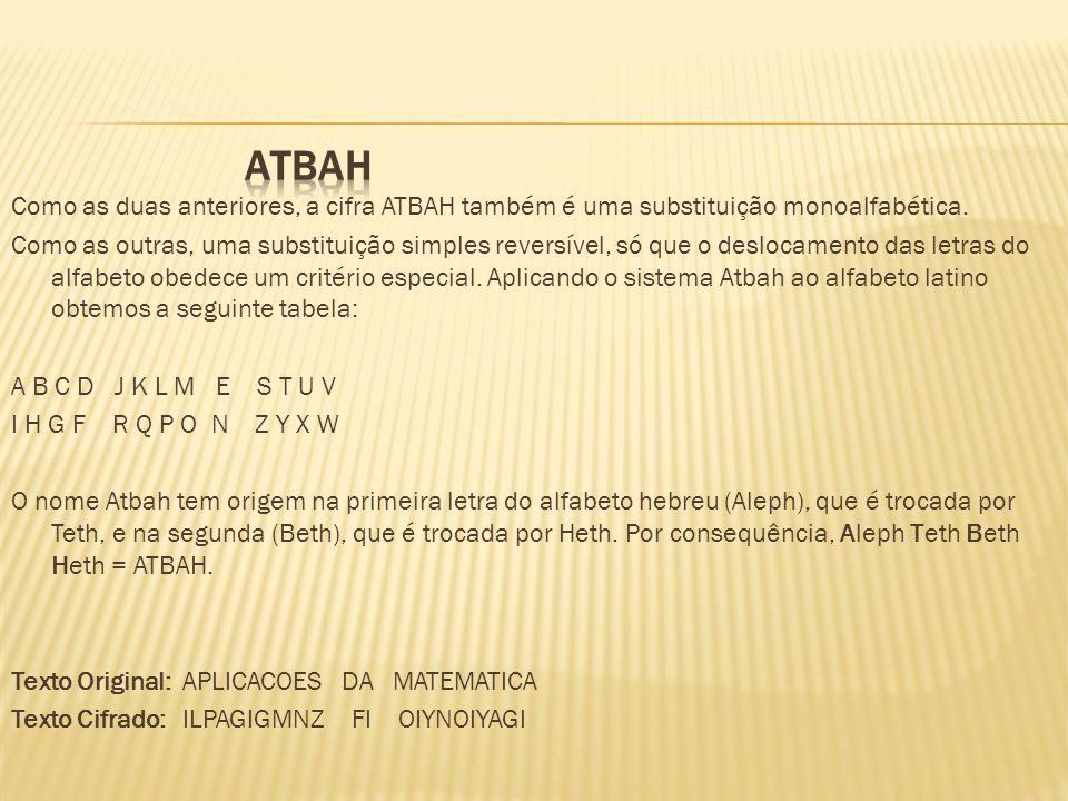 Como as duas anteriores, a cifra ATBAH também é uma substituição monoalfabética. Como as outras, uma substituição simples reversível, só que o desloca