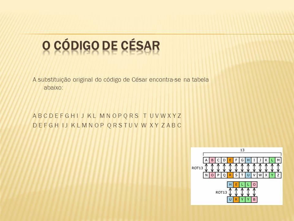 A substituição original do código de César encontra-se na tabela abaixo: A B C D E F G H I J K L M N O P Q R S T U V W X Y Z D E F G H I J K L M N O P