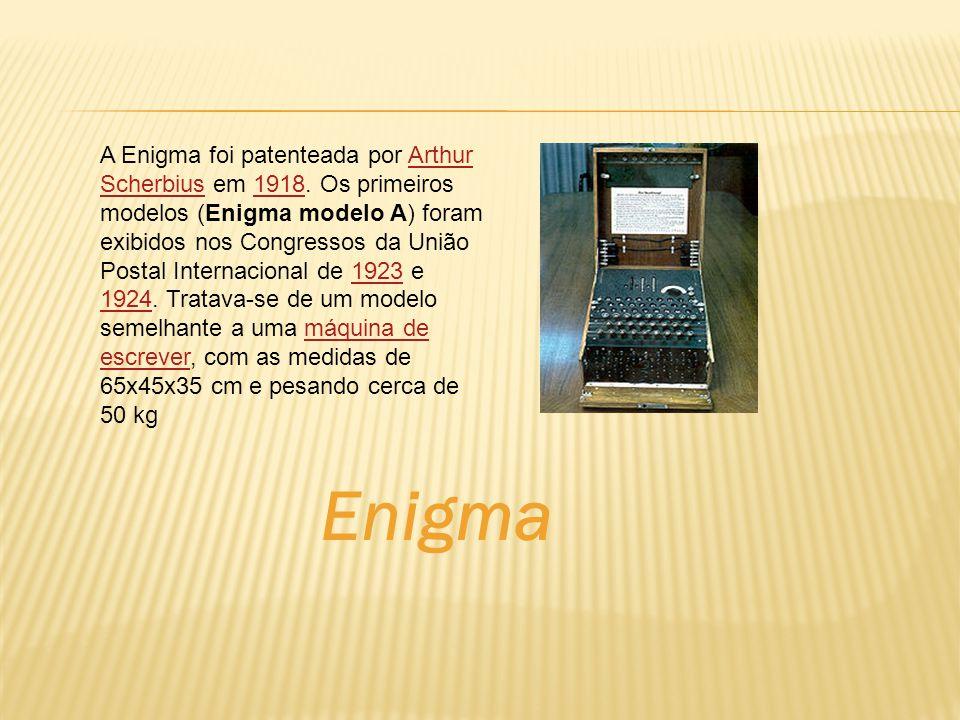 Enigma A Enigma foi patenteada por Arthur Scherbius em 1918. Os primeiros modelos (Enigma modelo A) foram exibidos nos Congressos da União Postal Inte