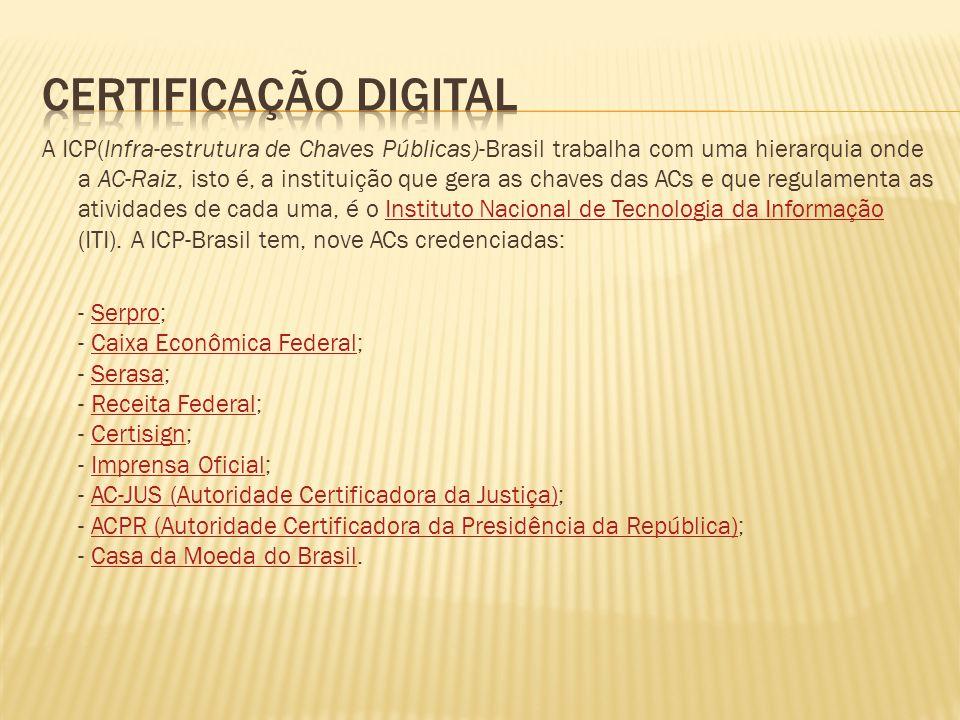A ICP(Infra-estrutura de Chaves Públicas)-Brasil trabalha com uma hierarquia onde a AC-Raiz, isto é, a instituição que gera as chaves das ACs e que re