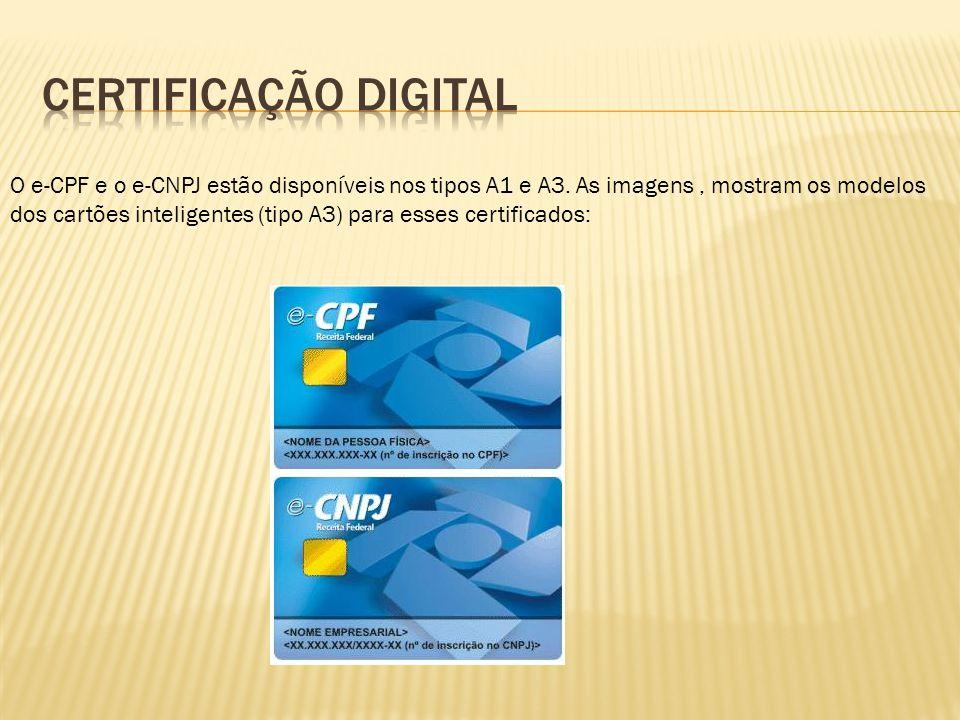O e-CPF e o e-CNPJ estão disponíveis nos tipos A1 e A3. As imagens, mostram os modelos dos cartões inteligentes (tipo A3) para esses certificados: