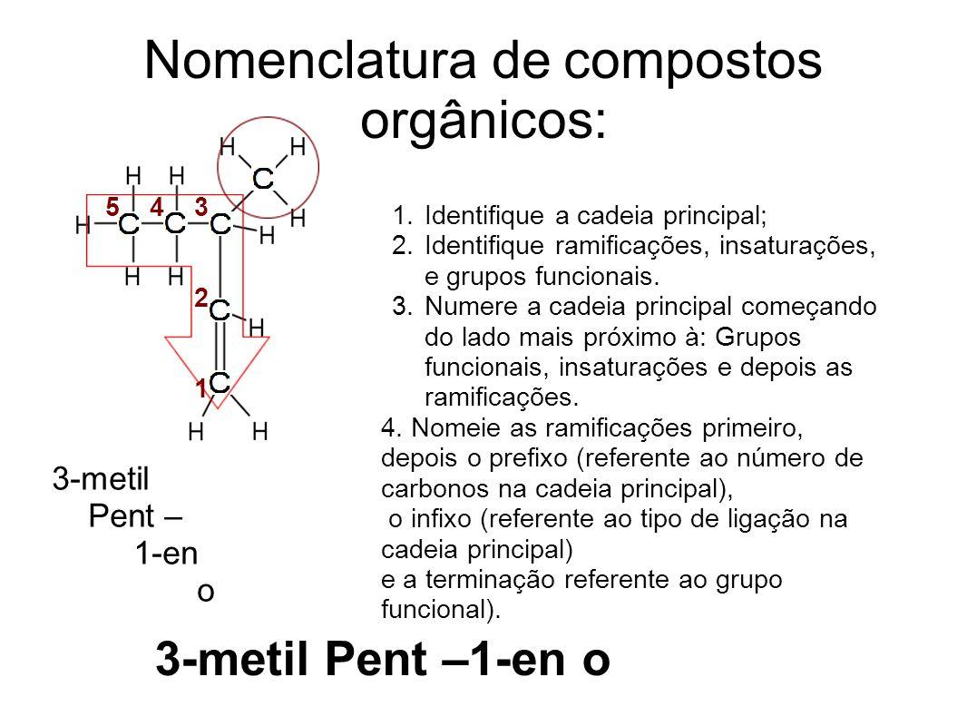 Nomenclatura de compostos orgânicos: 5 4 3 2 1 3-metil Pent – 1-en o 1.Identifique a cadeia principal; 2.Identifique ramificações, insaturações, e grupos funcionais.