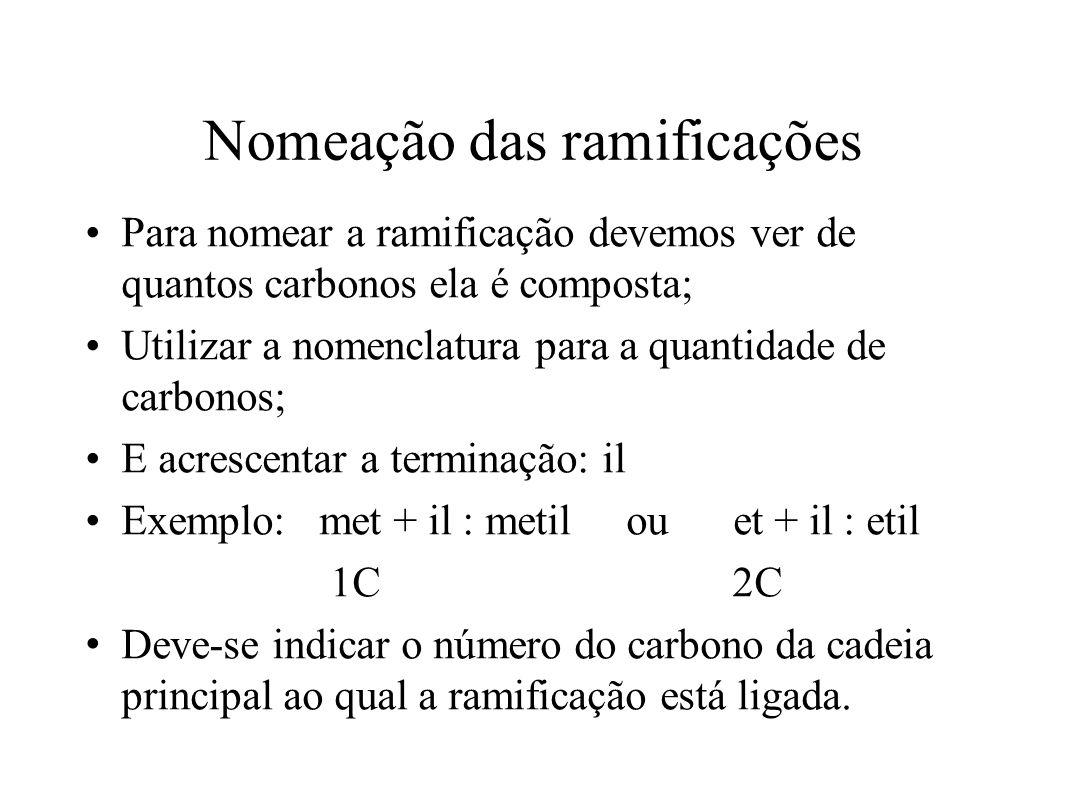 Nomeação das ramificações Para nomear a ramificação devemos ver de quantos carbonos ela é composta; Utilizar a nomenclatura para a quantidade de carbonos; E acrescentar a terminação: il Exemplo: met + il : metil ou et + il : etil 1C 2C Deve-se indicar o número do carbono da cadeia principal ao qual a ramificação está ligada.