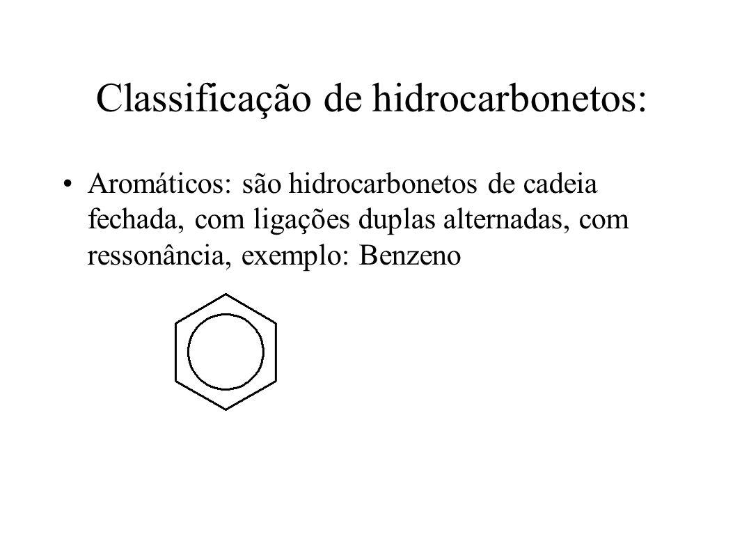 Classificação de hidrocarbonetos: Aromáticos: são hidrocarbonetos de cadeia fechada, com ligações duplas alternadas, com ressonância, exemplo: Benzeno