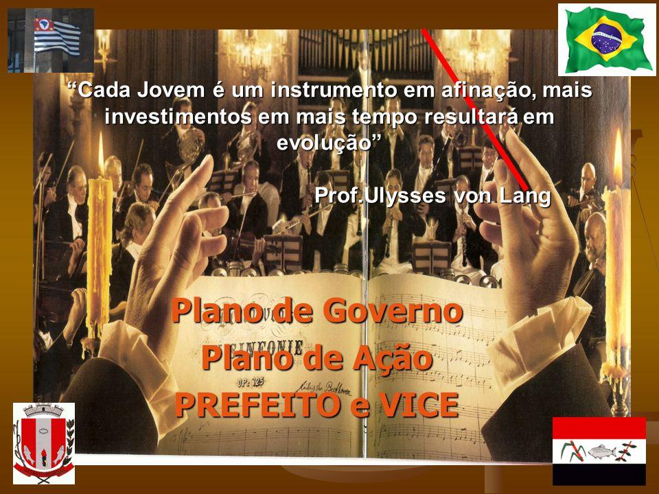 Plano de Governo Plano de Ação PREFEITO e VICE Cada Jovem é um instrumento em afinação, mais investimentos em mais tempo resultará em evolução Prof.Ul