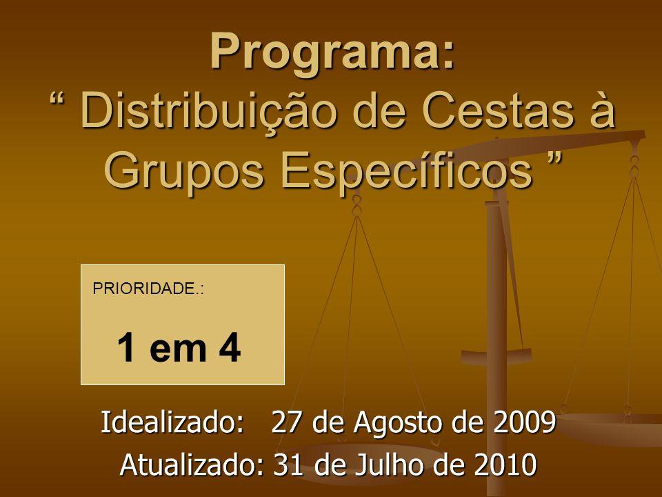 Programa: Distribuição de Cestas à Grupos Específicos Programa: Distribuição de Cestas à Grupos Específicos Idealizado: 27 de Agosto de 2009 Atualizad