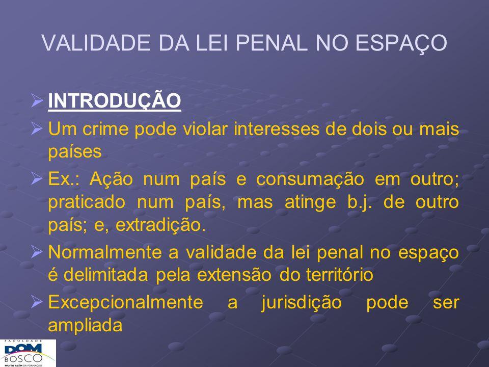 VALIDADE DA LEI PENAL NO ESPAÇO O CP brasileiro delimita o espaço de validade da lei penal segundo dois critérios fundamentais: a) critério da territorialidade (art.