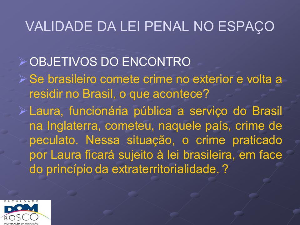 VALIDADE DA LEI PENAL NO ESPAÇO 1) Da defesa/proteção Crimes cometidos no estrangeiro, lesivos a b.j.