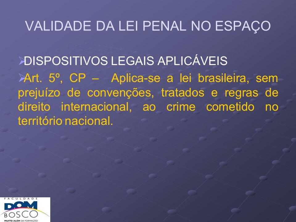 VALIDADE DA LEI PENAL NO ESPAÇO PRINCÍPIOS 1) Territorialidade – a lei penal nacional se aplica ao fato praticado no território do próprio país.