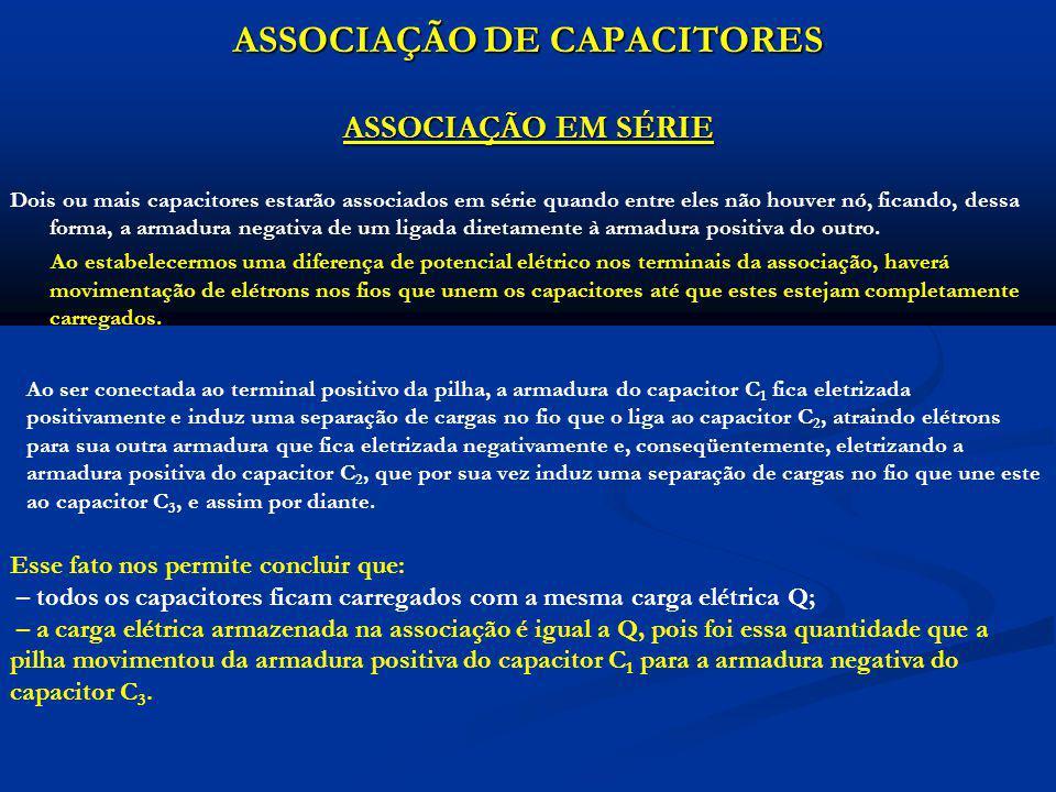 CAPACITOR EQUIVALENTE DE UMA ASSOCIAÇÃO EM SÉRIE Denominamos Capacitor Equivalente aquele capacitor que, submetido à mesma ddp U que a associação, adquire a mesma carga elétrica Q da associação.
