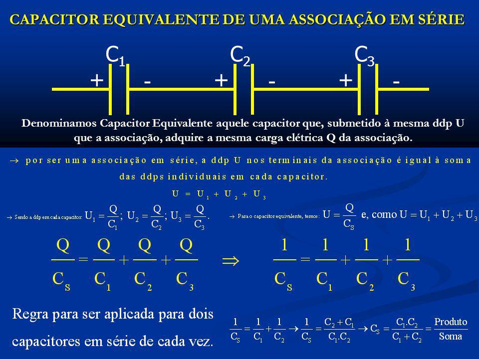 ASSOCIAÇÃO EM PARALELO Dois ou mais capacitores estão associados em paralelo quando seus terminais estão ligados aos mesmos nós e, conseqüentemente, sujeitos à mesma diferença de potencial U.