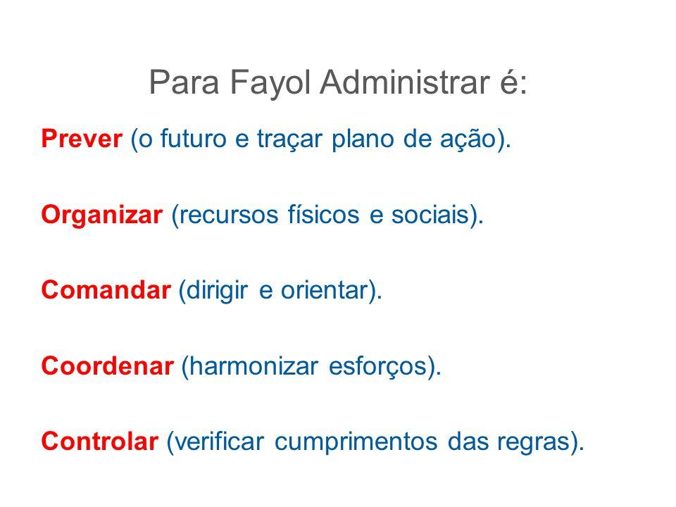 Para Fayol Administrar é: Prever (o futuro e traçar plano de ação). Organizar (recursos físicos e sociais). Comandar (dirigir e orientar). Coordenar (
