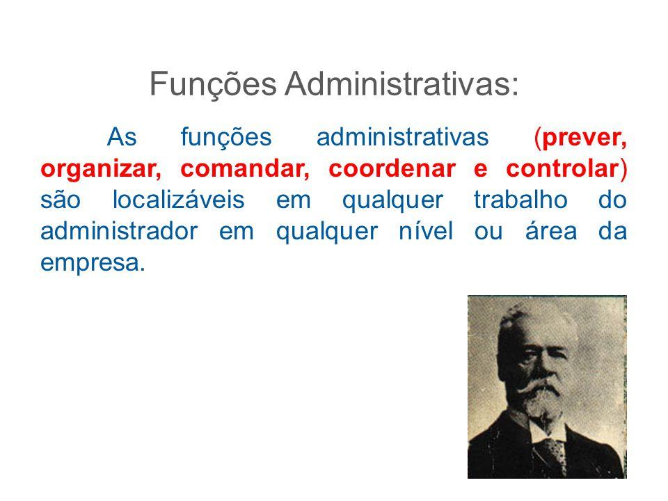 Funções Administrativas: As funções administrativas (prever, organizar, comandar, coordenar e controlar) são localizáveis em qualquer trabalho do admi
