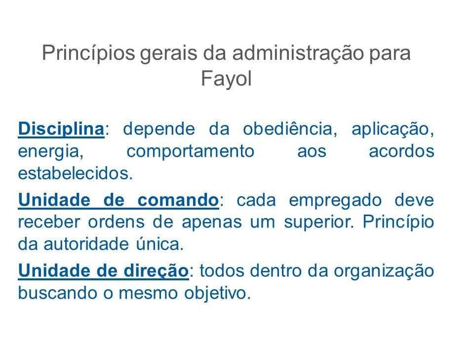 Princípios gerais da administração para Fayol Disciplina: depende da obediência, aplicação, energia, comportamento aos acordos estabelecidos. Unidade
