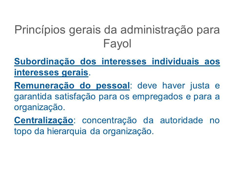 Princípios gerais da administração para Fayol Subordinação dos interesses individuais aos interesses gerais. Remuneração do pessoal: deve haver justa
