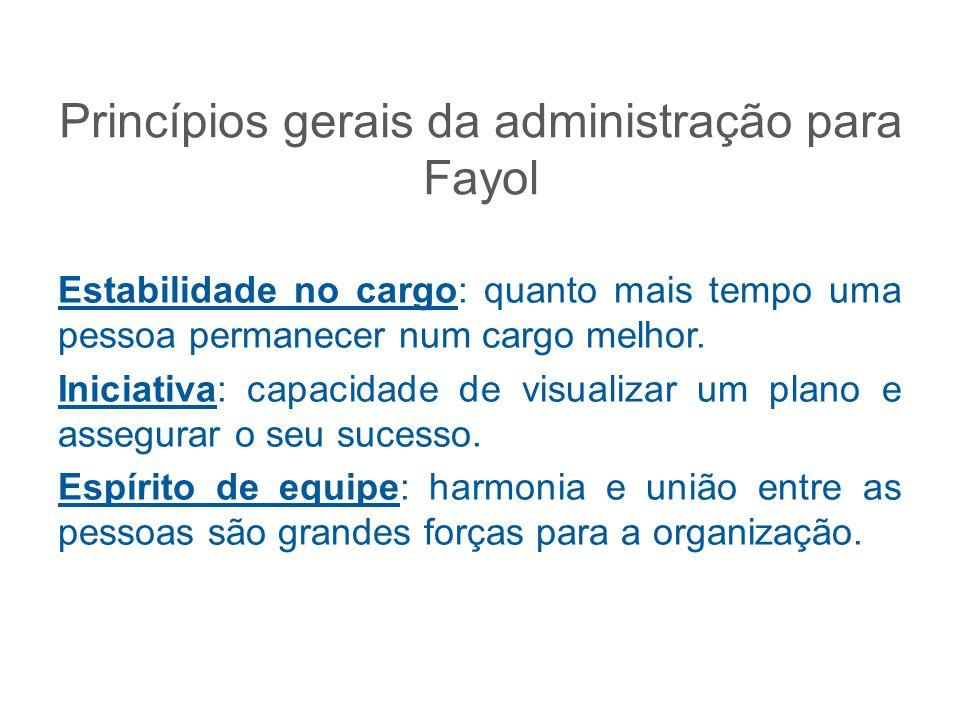 Princípios gerais da administração para Fayol Estabilidade no cargo: quanto mais tempo uma pessoa permanecer num cargo melhor. Iniciativa: capacidade
