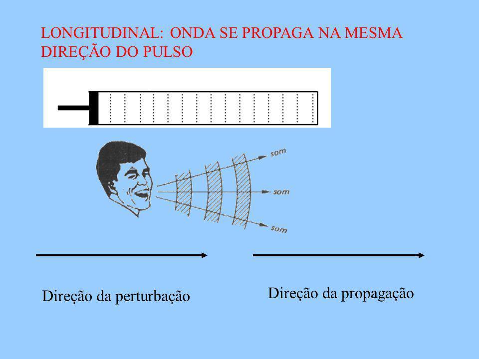 LONGITUDINAL: ONDA SE PROPAGA NA MESMA DIREÇÃO DO PULSO Direção da perturbação Direção da propagação