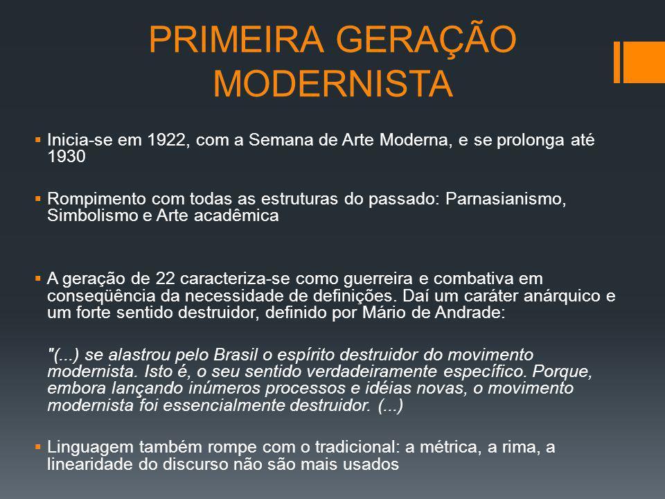 PRIMEIRA GERAÇÃO MODERNISTA Inicia-se em 1922, com a Semana de Arte Moderna, e se prolonga até 1930 Rompimento com todas as estruturas do passado: Par