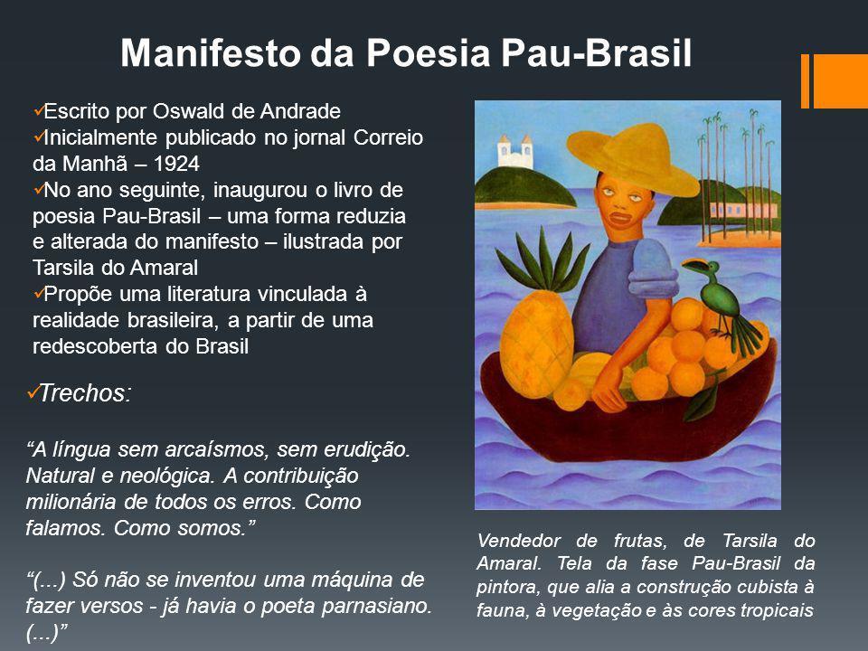 Manifesto da Poesia Pau-Brasil Escrito por Oswald de Andrade Inicialmente publicado no jornal Correio da Manhã – 1924 No ano seguinte, inaugurou o liv