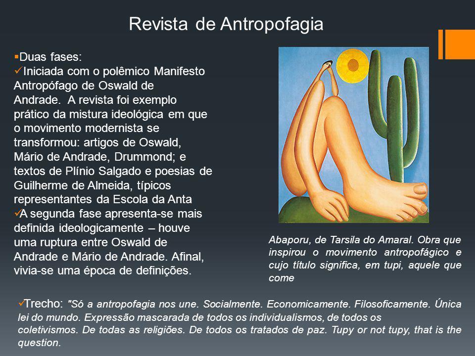 Revista de Antropofagia Abaporu, de Tarsila do Amaral. Obra que inspirou o movimento antropofágico e cujo título significa, em tupi, aquele que come D