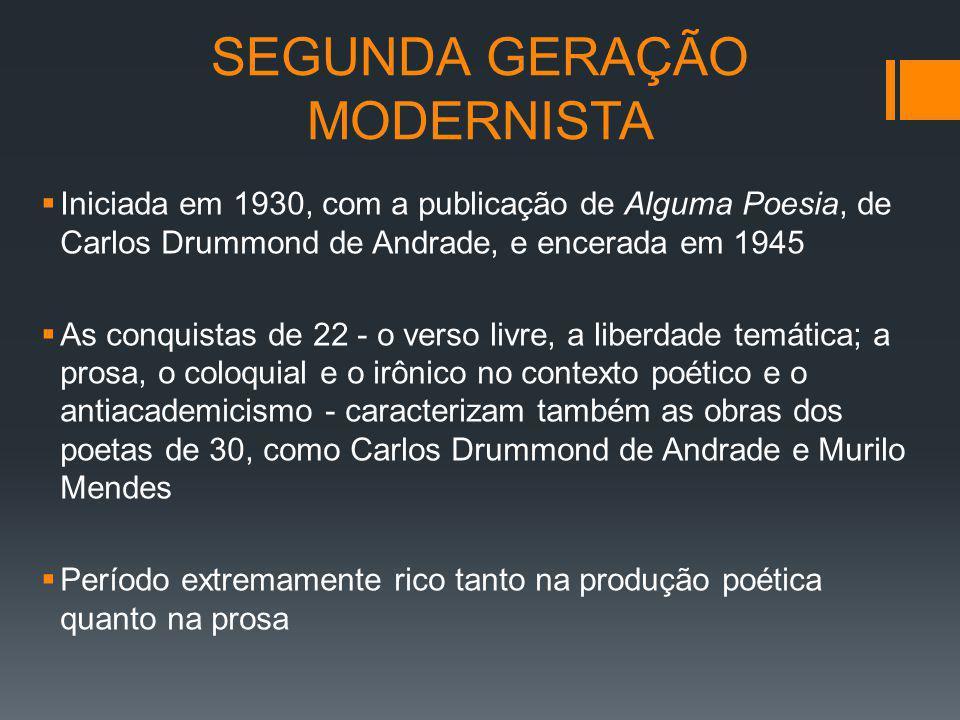 SEGUNDA GERAÇÃO MODERNISTA Iniciada em 1930, com a publicação de Alguma Poesia, de Carlos Drummond de Andrade, e encerada em 1945 As conquistas de 22