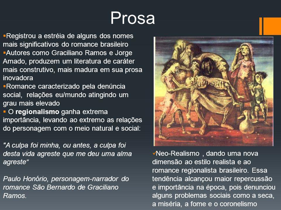 Prosa Registrou a estréia de alguns dos nomes mais significativos do romance brasileiro Autores como Graciliano Ramos e Jorge Amado, produzem um liter
