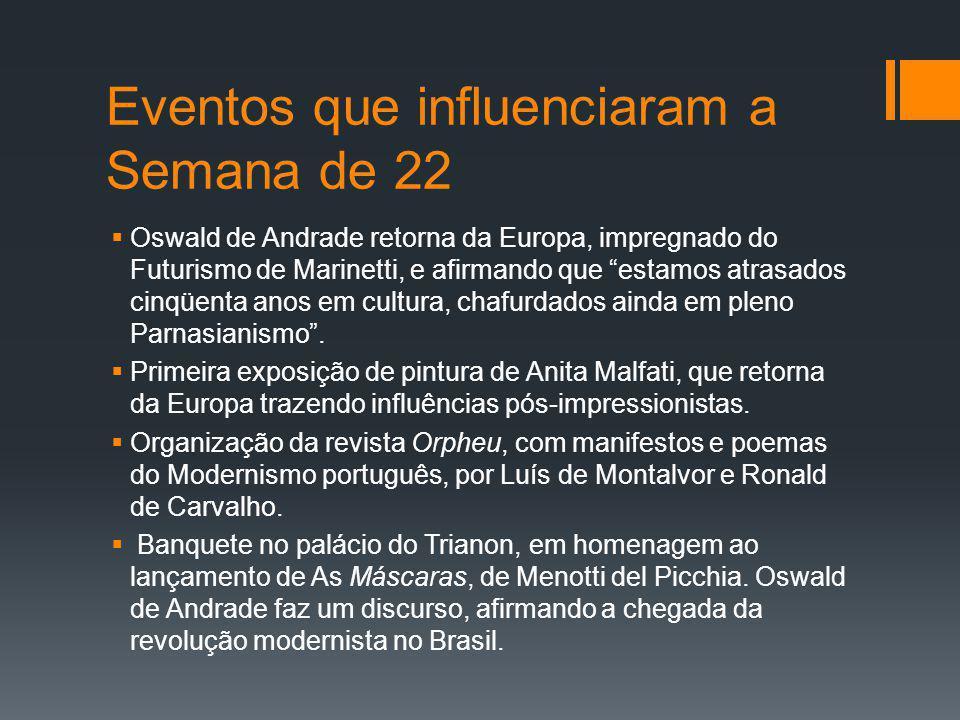 Eventos que influenciaram a Semana de 22 Oswald de Andrade retorna da Europa, impregnado do Futurismo de Marinetti, e afirmando que estamos atrasados cinqüenta anos em cultura, chafurdados ainda em pleno Parnasianismo.