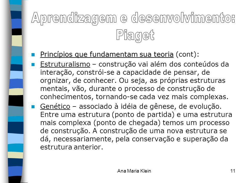 Ana Maria Klein11 Princípios que fundamentam sua teoria Princípios que fundamentam sua teoria (cont): Estruturalismo – construção vai além dos conteúd