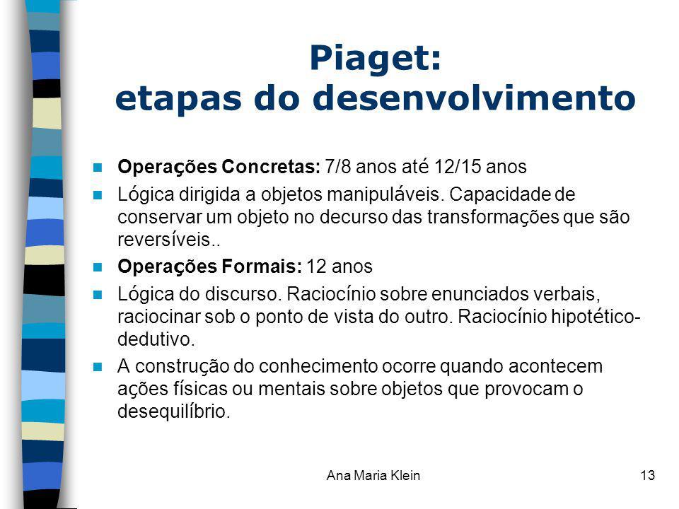 Ana Maria Klein13 Piaget: etapas do desenvolvimento Opera ç ões Concretas: 7/8 anos at é 12/15 anos L ó gica dirigida a objetos manipul á veis. Capaci