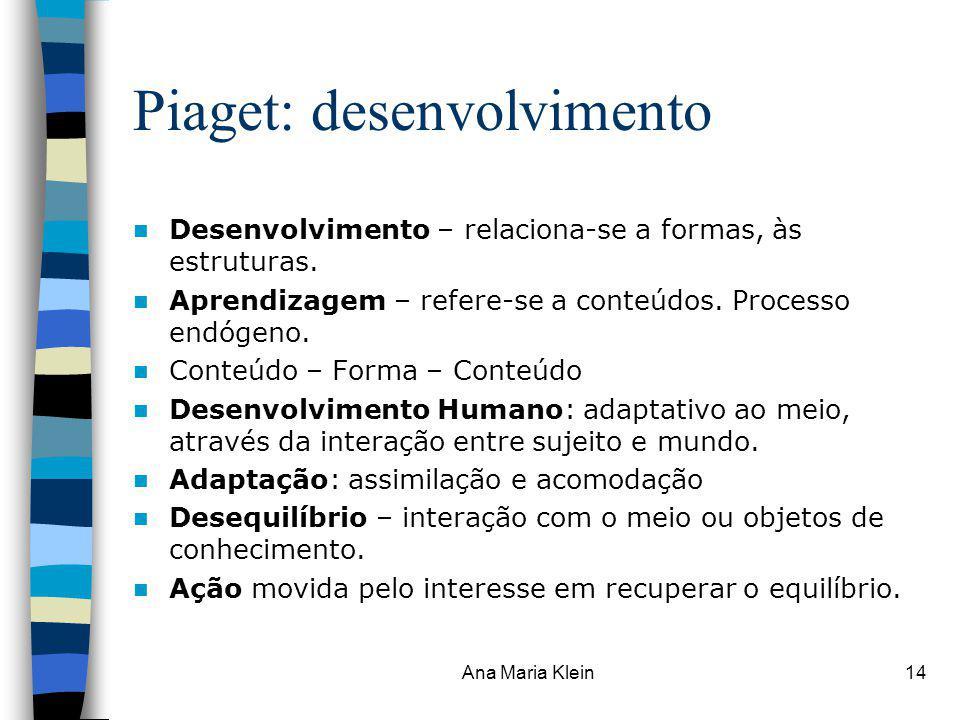 Ana Maria Klein14 Piaget: desenvolvimento Desenvolvimento – relaciona-se a formas, às estruturas. Aprendizagem – refere-se a conteúdos. Processo endóg