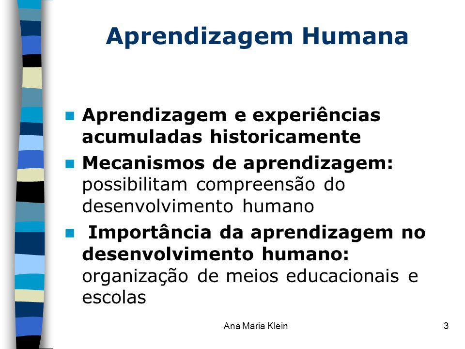 Ana Maria Klein3 Aprendizagem Humana Aprendizagem e experiências acumuladas historicamente Mecanismos de aprendizagem: possibilitam compreensão do des