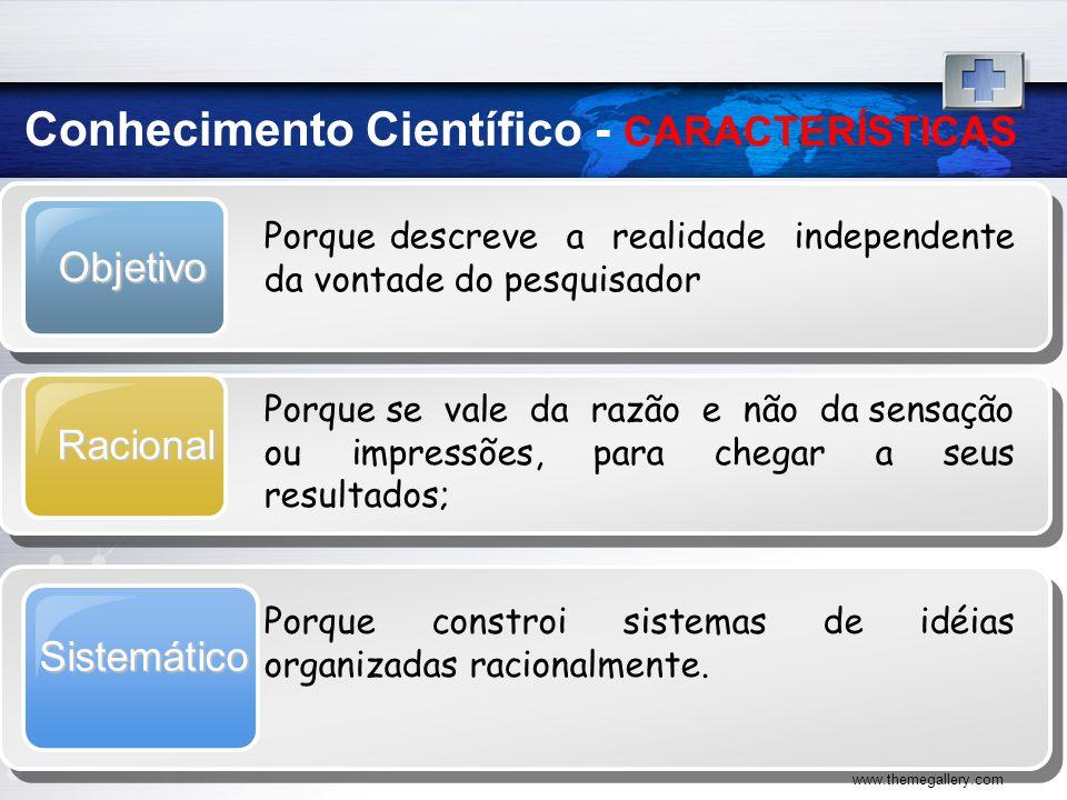 www.themegallery.com Objetivo Porque descreve a realidade independente da vontade do pesquisador Racional Porque se vale da razão e não da sensação ou
