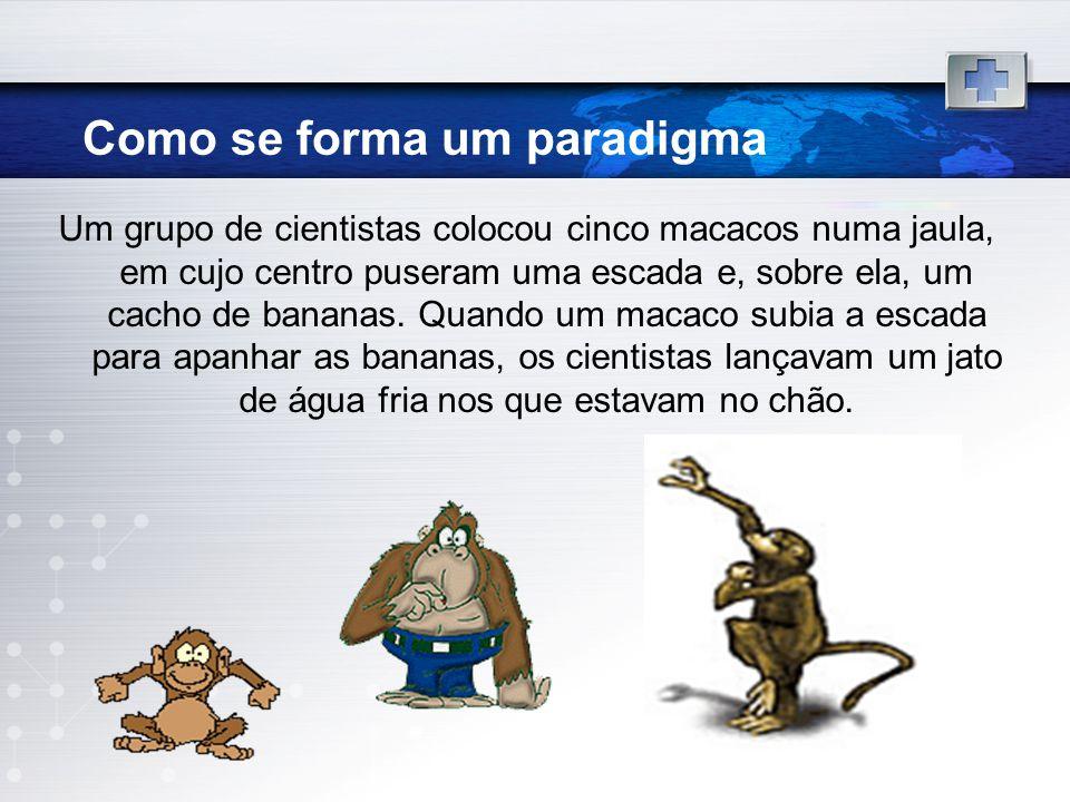 Como se forma um paradigma Um grupo de cientistas colocou cinco macacos numa jaula, em cujo centro puseram uma escada e, sobre ela, um cacho de banana