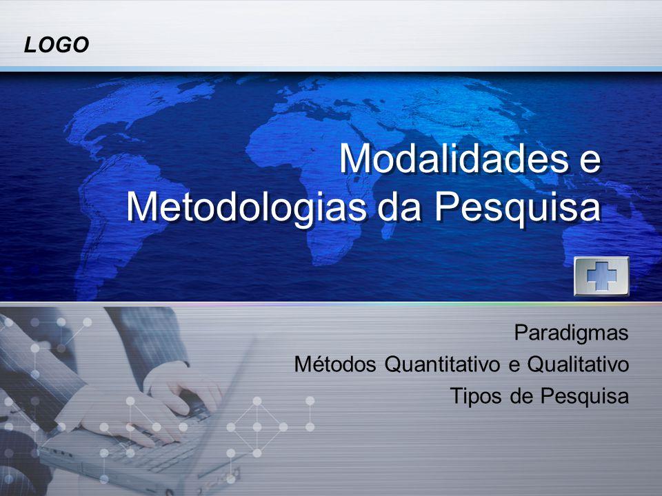 LOGO Modalidades e Metodologias da Pesquisa Paradigmas Métodos Quantitativo e Qualitativo Tipos de Pesquisa