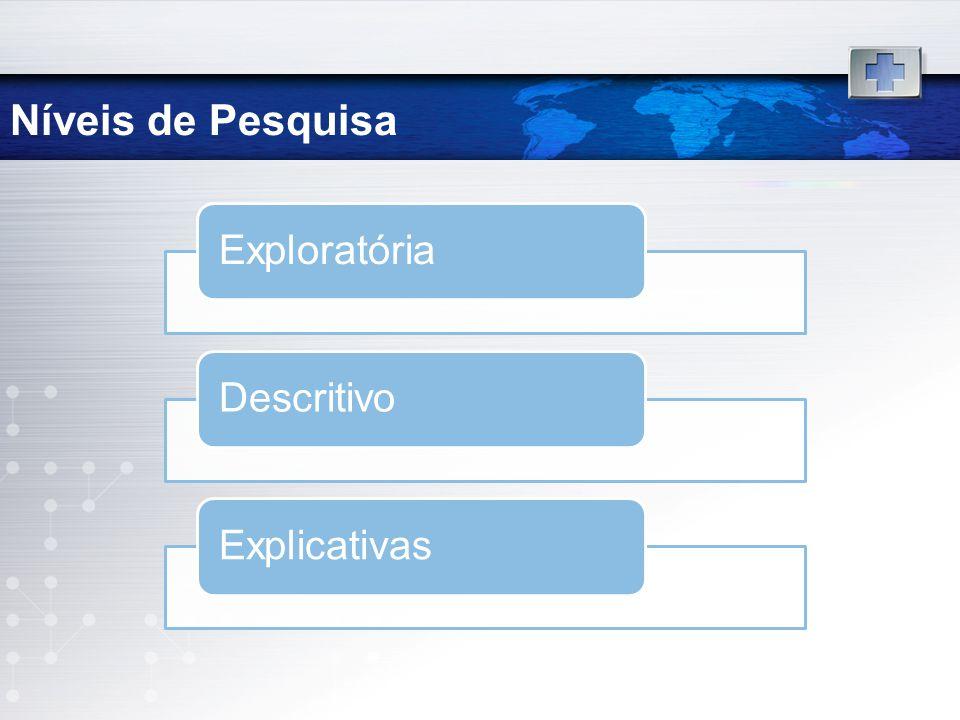 Níveis de Pesquisa ExploratóriaDescritivoExplicativas