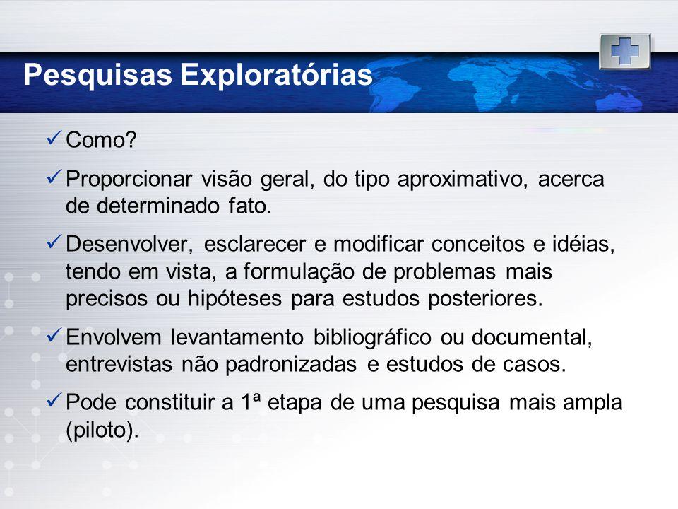 Pesquisas Exploratórias Como? Proporcionar visão geral, do tipo aproximativo, acerca de determinado fato. Desenvolver, esclarecer e modificar conceito
