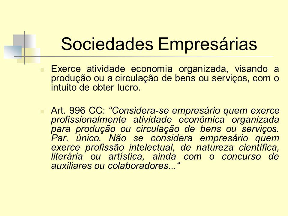Sociedades Empresárias Exerce atividade economia organizada, visando a produção ou a circulação de bens ou serviços, com o intuito de obter lucro. Art