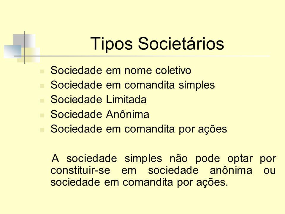 Tipos Societários Sociedade em nome coletivo Sociedade em comandita simples Sociedade Limitada Sociedade Anônima Sociedade em comandita por ações A so