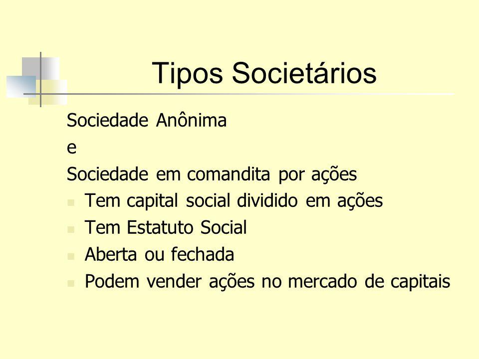 Tipos Societários Sociedade Anônima e Sociedade em comandita por ações Tem capital social dividido em ações Tem Estatuto Social Aberta ou fechada Pode