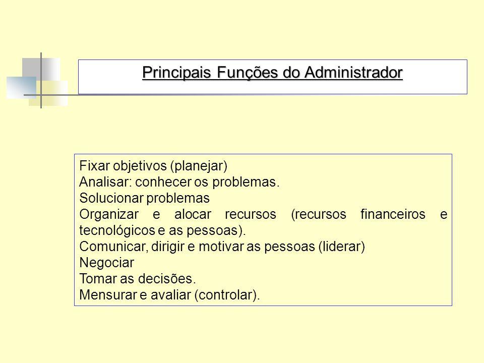 Principais Funções do Administrador Fixar objetivos (planejar) Analisar: conhecer os problemas. Solucionar problemas Organizar e alocar recursos (recu