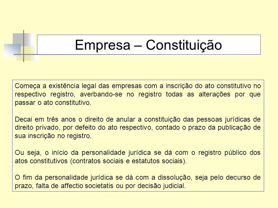 Empresa – Constituição Começa a existência legal das empresas com a inscrição do ato constitutivo no respectivo registro, averbando-se no registro tod