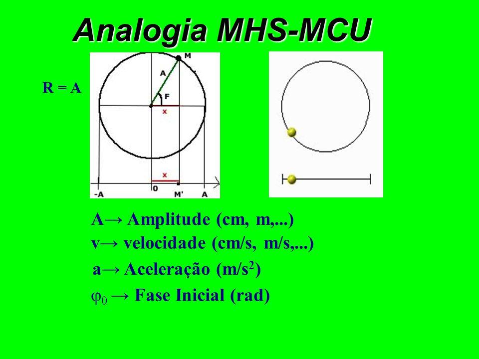 Cosseno Seno + + + + - - - - M.C.U.M.H.S. ω Vel. Angular (rad/s)ωPulsação (rad/s) R Raio (cm, m,...) A Amplitude (cm, m,...) a aceleração (m/s 2 ) v v