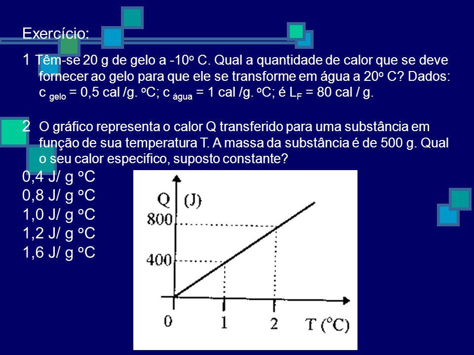Exercício: 1 Têm-se 20 g de gelo a -10 o C.