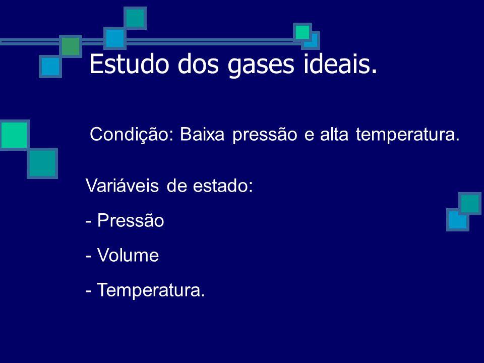 Variáveis de estado: - Pressão - Volume - Temperatura.