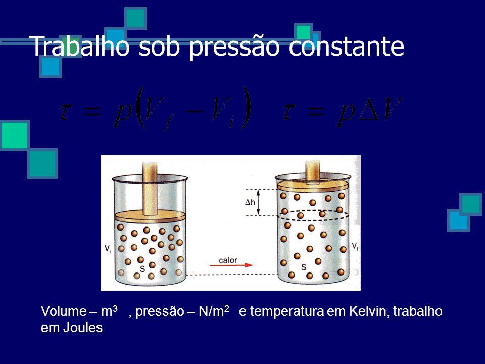 Trabalho sob pressão constante Volume – m 3, pressão – N/m 2 e temperatura em Kelvin, trabalho em Joules
