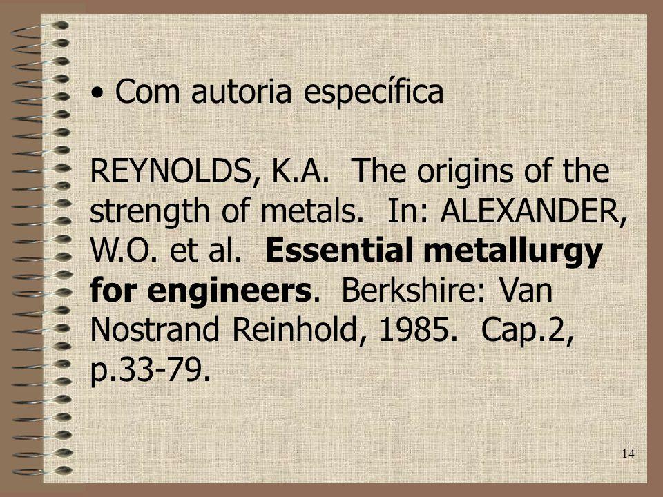 14 Com autoria específica REYNOLDS, K.A.The origins of the strength of metals.