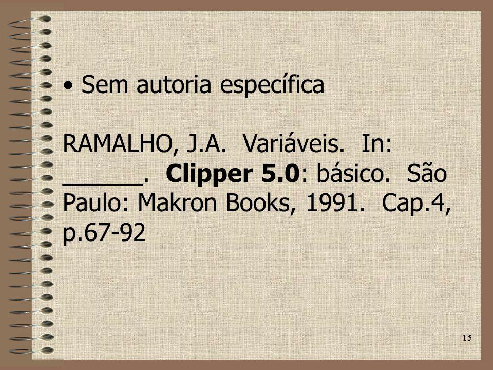 15 Sem autoria específica RAMALHO, J.A.Variáveis.