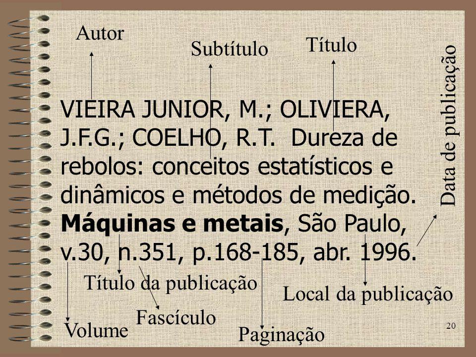 20 VIEIRA JUNIOR, M.; OLIVIERA, J.F.G.; COELHO, R.T.