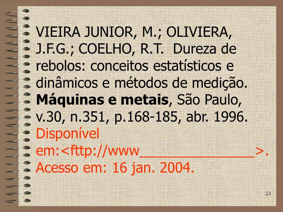 23 VIEIRA JUNIOR, M.; OLIVIERA, J.F.G.; COELHO, R.T.